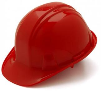 Red  Hard Hat  with 6 Point Racthet Suspension