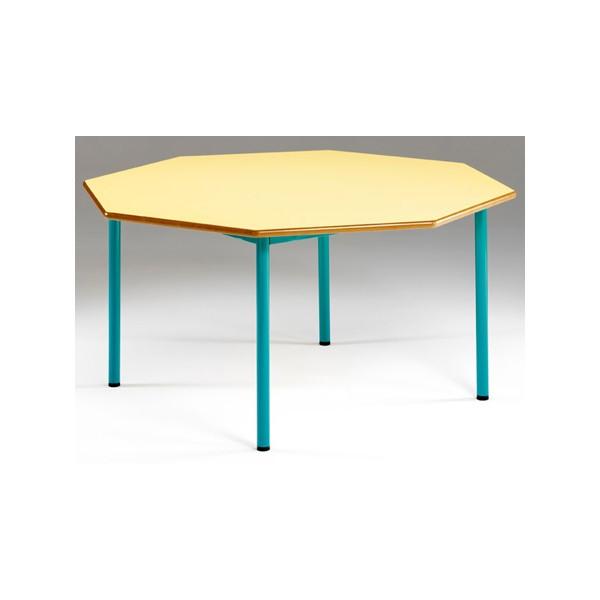 tables maternelles nf 4 pieds josephine octogonale o 120 cm cm stratifie mdf chant verni t1 a t3