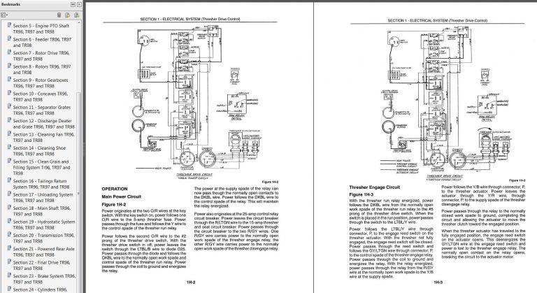 New Holland TR96, TR97, TR98 Combine Service Manual