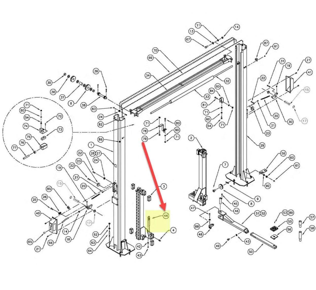WHEELTRONIC 2 POST ARM RESTRAINT OEM# 2-2940 or 1-2914