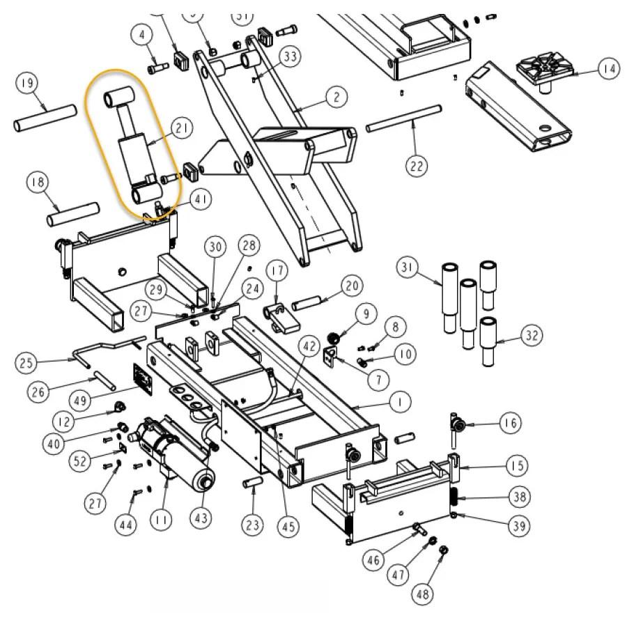 HYDRAULIC CYLINDER FOR WHEELTRONIC JACK BEAM MODEL RJ217