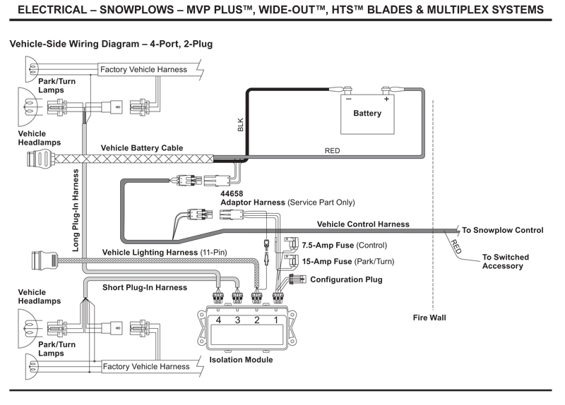 Western Vehicle Side Wiring Diagram 4 Port 2 Plug