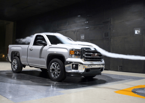 small resolution of a 2014 gmc sierra pickup undergoes testing in the gm aerodynamics testing