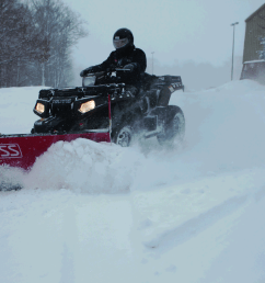 the boss snowplow has introduced its 5 foot poly straight blade atv plow a fully hydraulic plow that allows recreational atvs to be used for snow removal  [ 5616 x 3744 Pixel ]