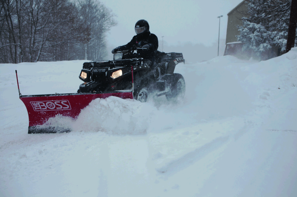 medium resolution of the boss snowplow has introduced its 5 foot poly straight blade atv plow a fully hydraulic plow that allows recreational atvs to be used for snow removal