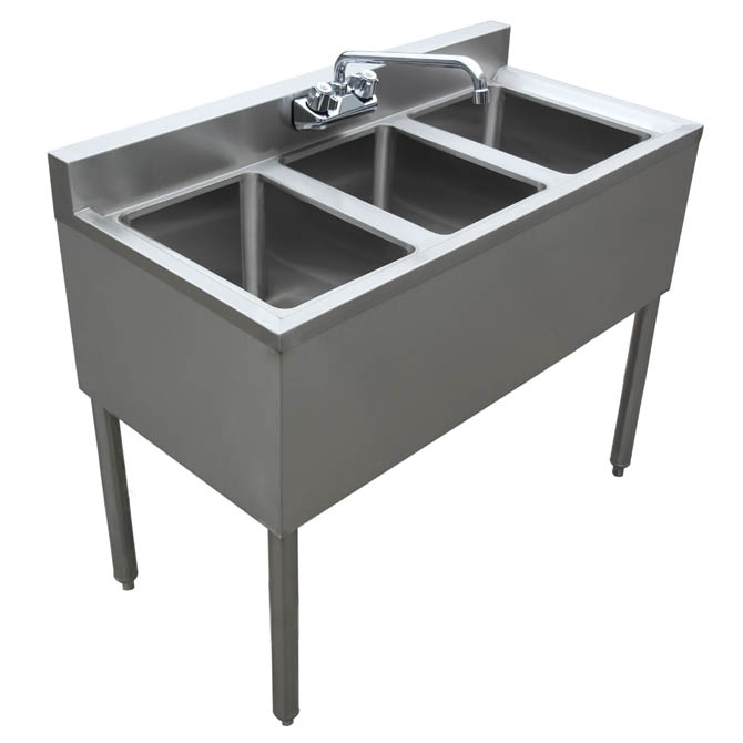 Sauber 3Compartment Stainless Steel Bar Sink with
