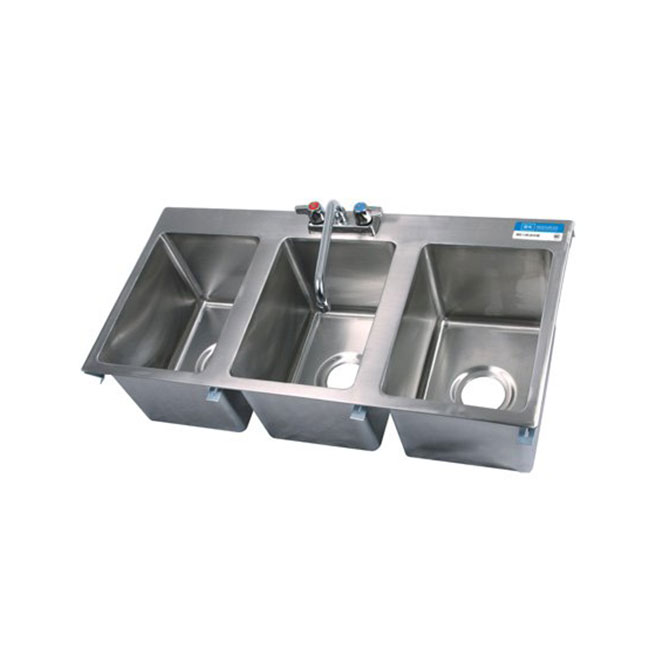 sauber 3 compartment stainless steel drop in sink 38 w