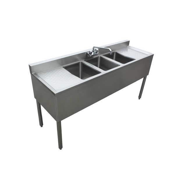 Sauber 3Compartment Stainless Steel Bar Sink with Two 13
