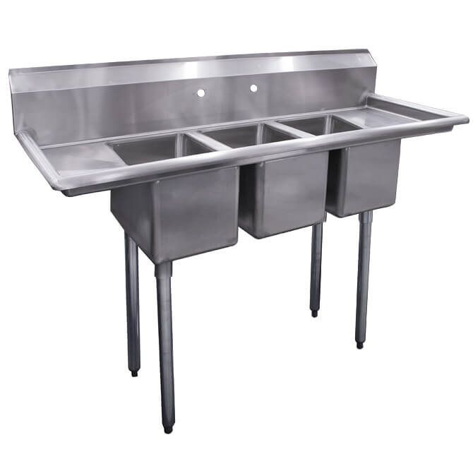 sauber 3 compartment stainless steel convenience store sink with two 10 drainboards 54 w df