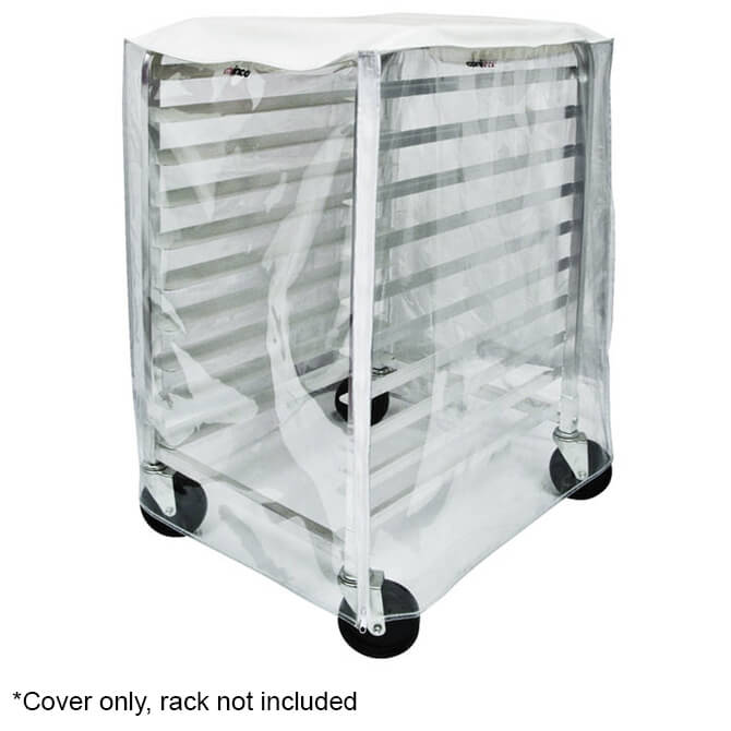 winco transparent plastic cover with zipper flaps for half size sheet pan rack