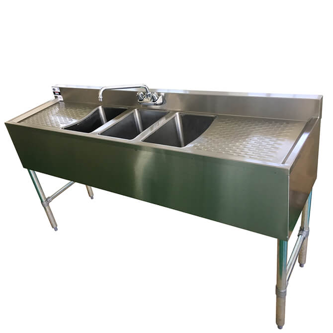 Sauber 3Compartment Stainless Steel Bar Sink w two 19