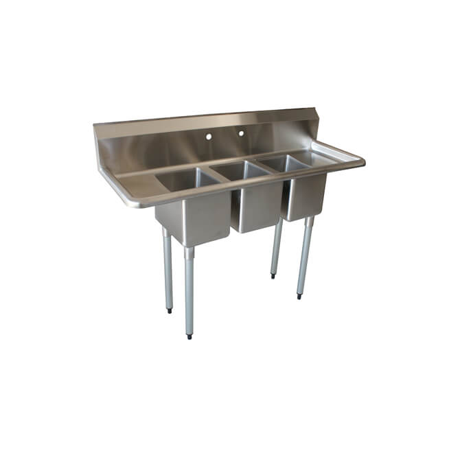 sauber 3 compartment stainless steel convenience store sink with two 10 drain boards 54 w
