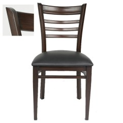 Ladder Back Chair Conference Table Chairs With Wheels Metal Walnut Finish And Black Vinyl Seat Share This