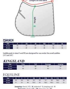 Size chart select also eskadron saddle pad impuls equishop equestrian shop rh