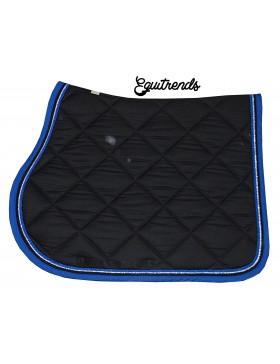 tapis de selle rg italy noir bord bleu roi