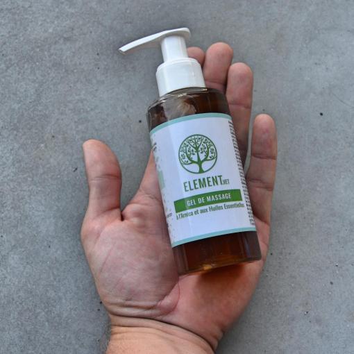 Gel de massage 100% naturel Arnica-Gaulthérie et Huiles Essentielles Element.vet 150 mL pour les animaux, disponible en Suisse sur EquiWiki.ch