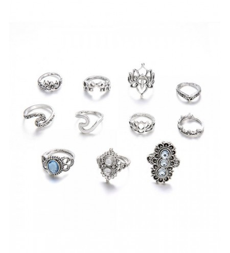 11 PCS/Set Opal Midi Rings For Women Antique Crown Lotus