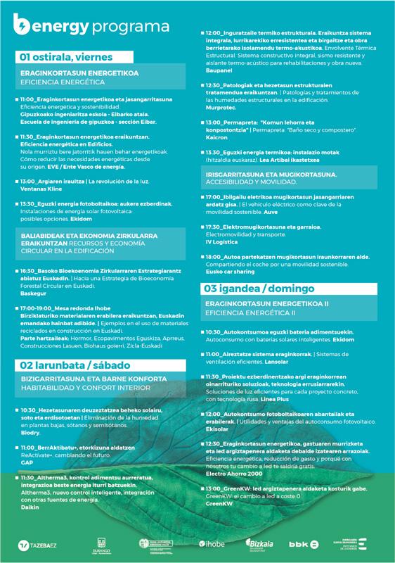 Programa de la jornada Berdeago Energy.