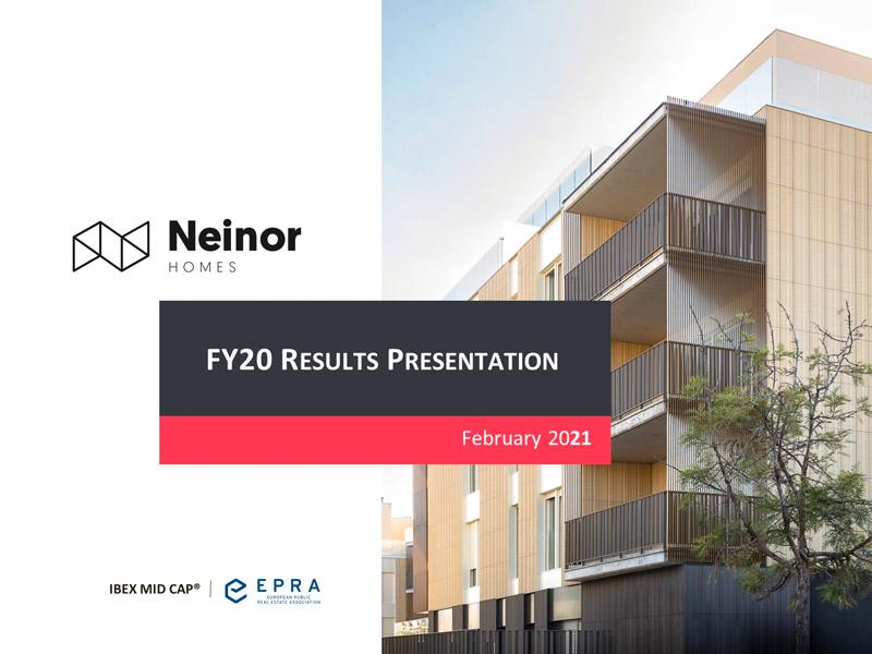 Neinor. Presentación de resultados anuales 2020