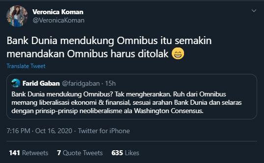 Kicauan Veronica Koman Sebut Dukungan Bank Dunia Semakin Menandakan Omnibus Law Harus Ditolak (Twitter/@veronicakoman).