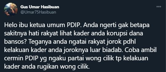 Gus Umar mengkritik pernyataan Megawati yang sebut rakyat Indonesia jorok (Twitter/Umar75Hasibuan).