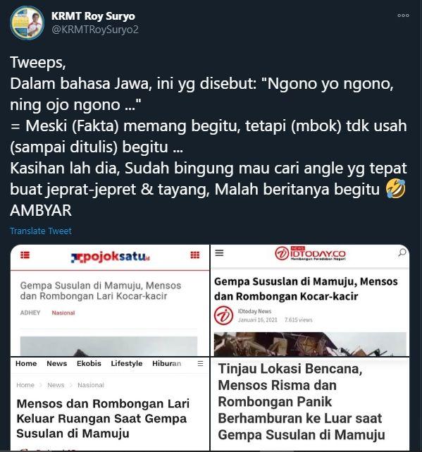 Roy Suryo soal Risma yang lari saat ada gempa susulan di Mamuju (Twitter).