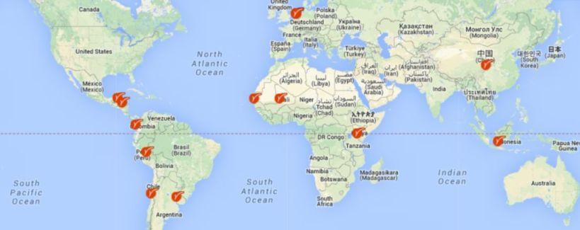 Map around the world