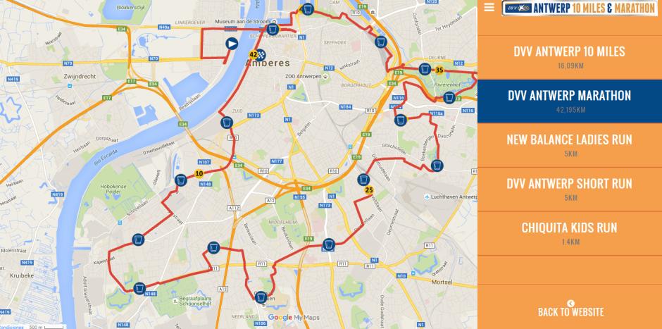 Recorrido Maratón DVV Antwerp
