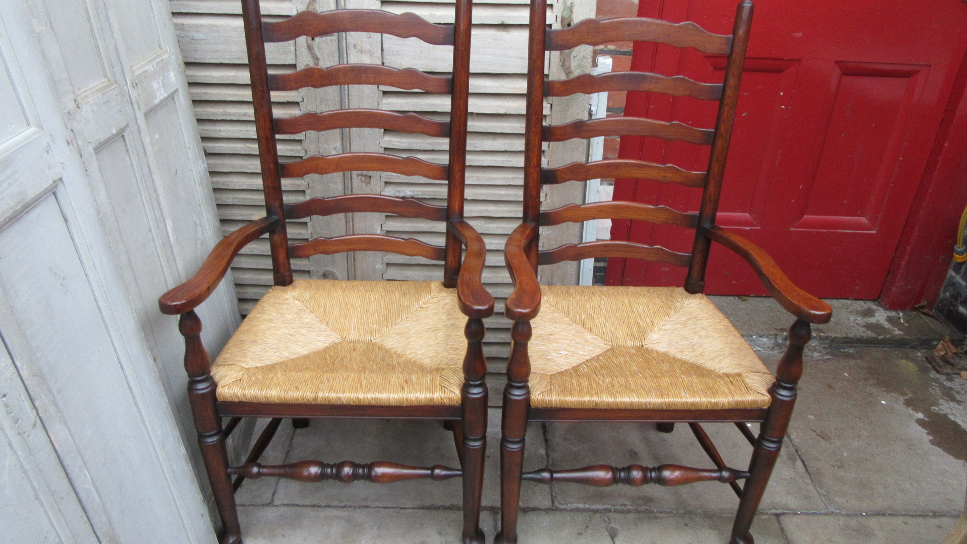 antique ladder back chairs value chess table with set of six oak ladderback dining eras style