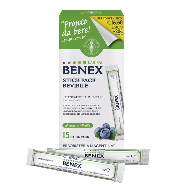 Stick Pack Bevibile Natural Benex - Erboristeria Magentina |Erboristeria Erbainfusa Como | Shop Online