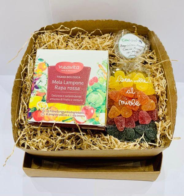 Confezione regalo - Infuso Mela Carota Lampone e caramelle al miele - Erbainfusa| Erboristeria Erbainfusa Como | Shop Online