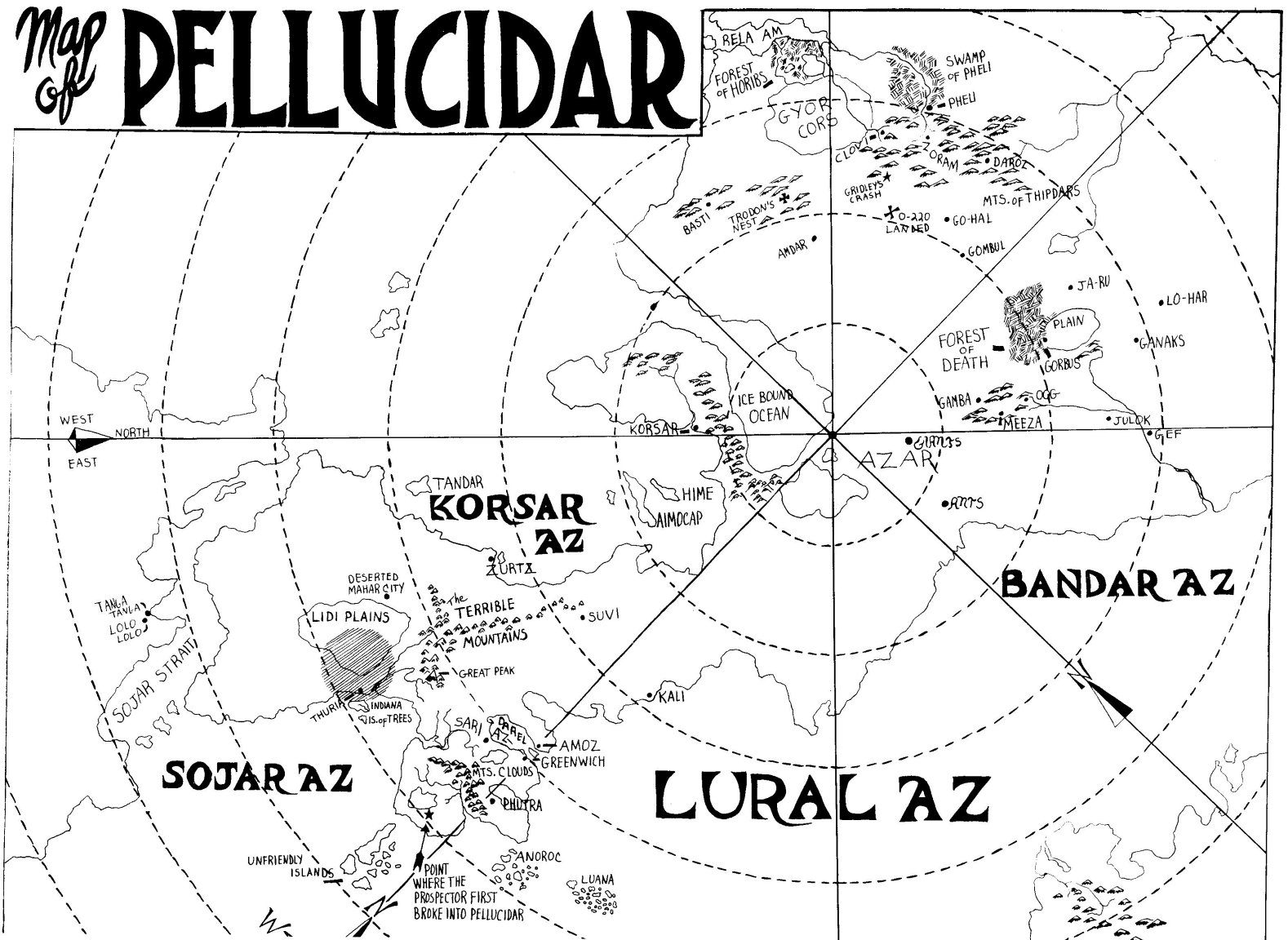 ERBzine 3042: Pellucidar Maps from ERB Atlas