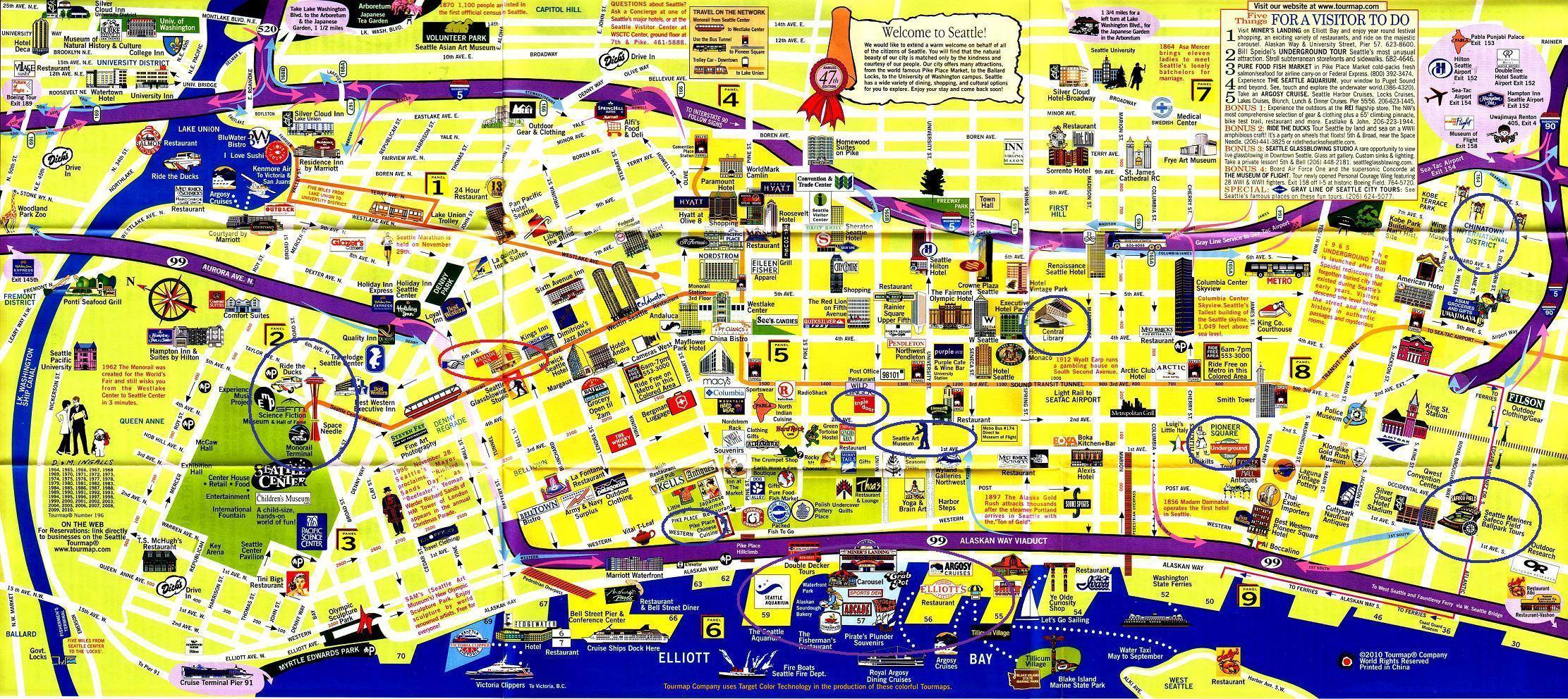 Printable Walking Map Downtown Seattle