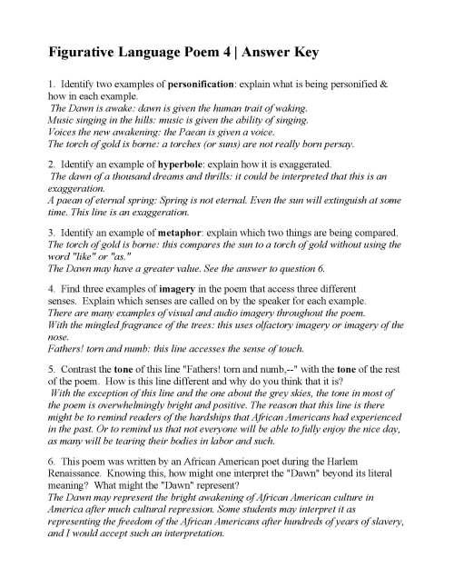 small resolution of Figurative Language Poem 4: The Dawn's Awakening! by Otto Leland Bohanan    Answers