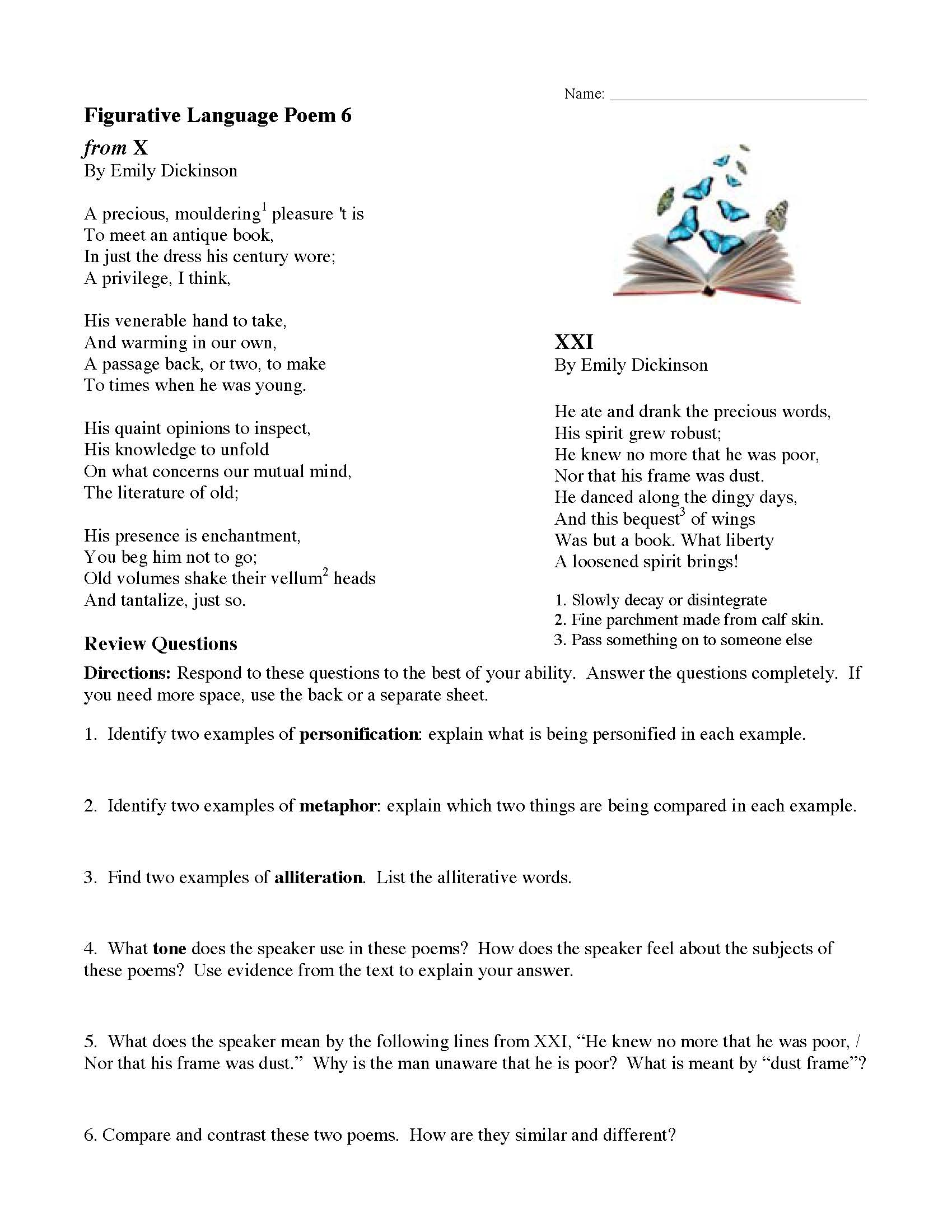 hight resolution of Figurative Language Poem 6: from X and XXI by Emily Dickinson   Preview