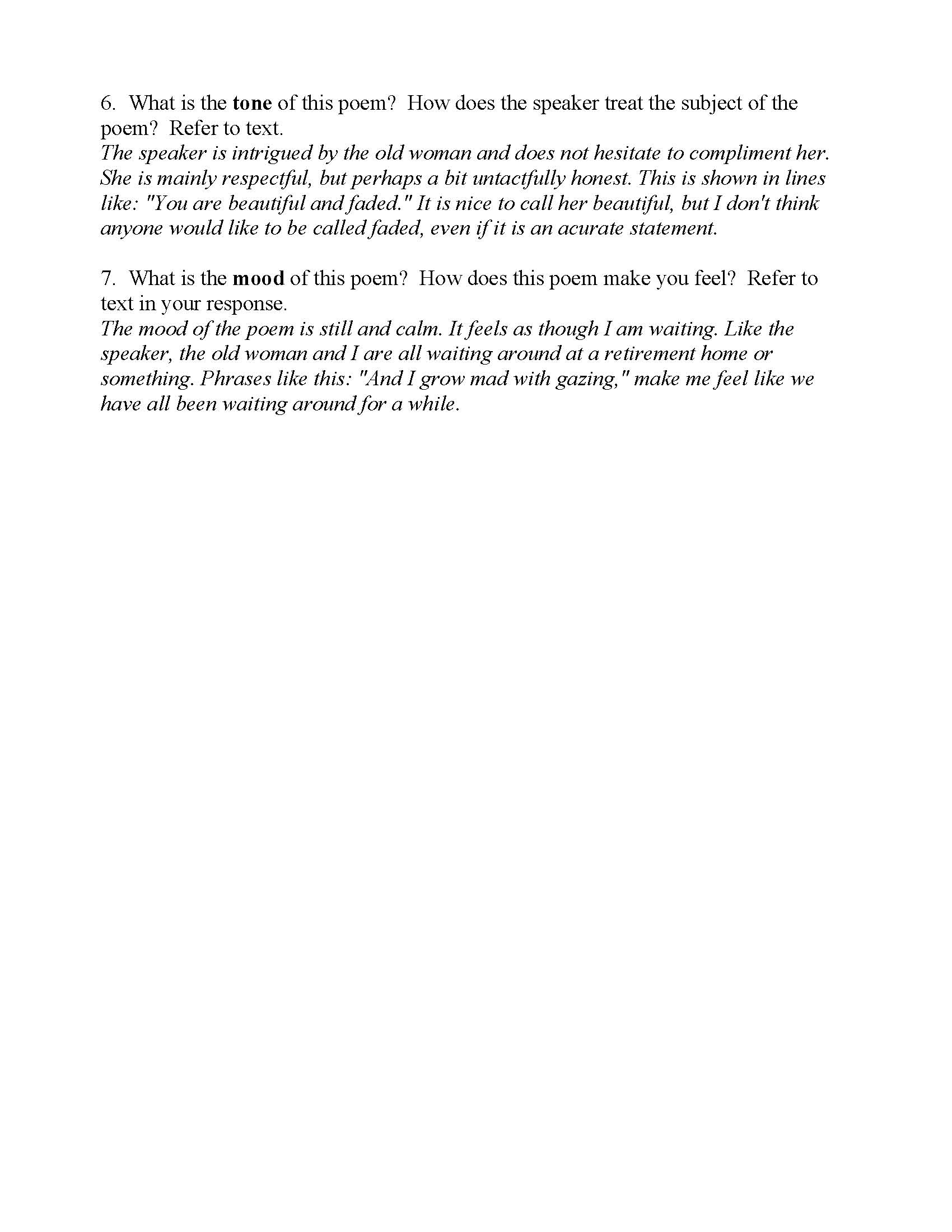Yzing A Poem Lady Worksheet Answers