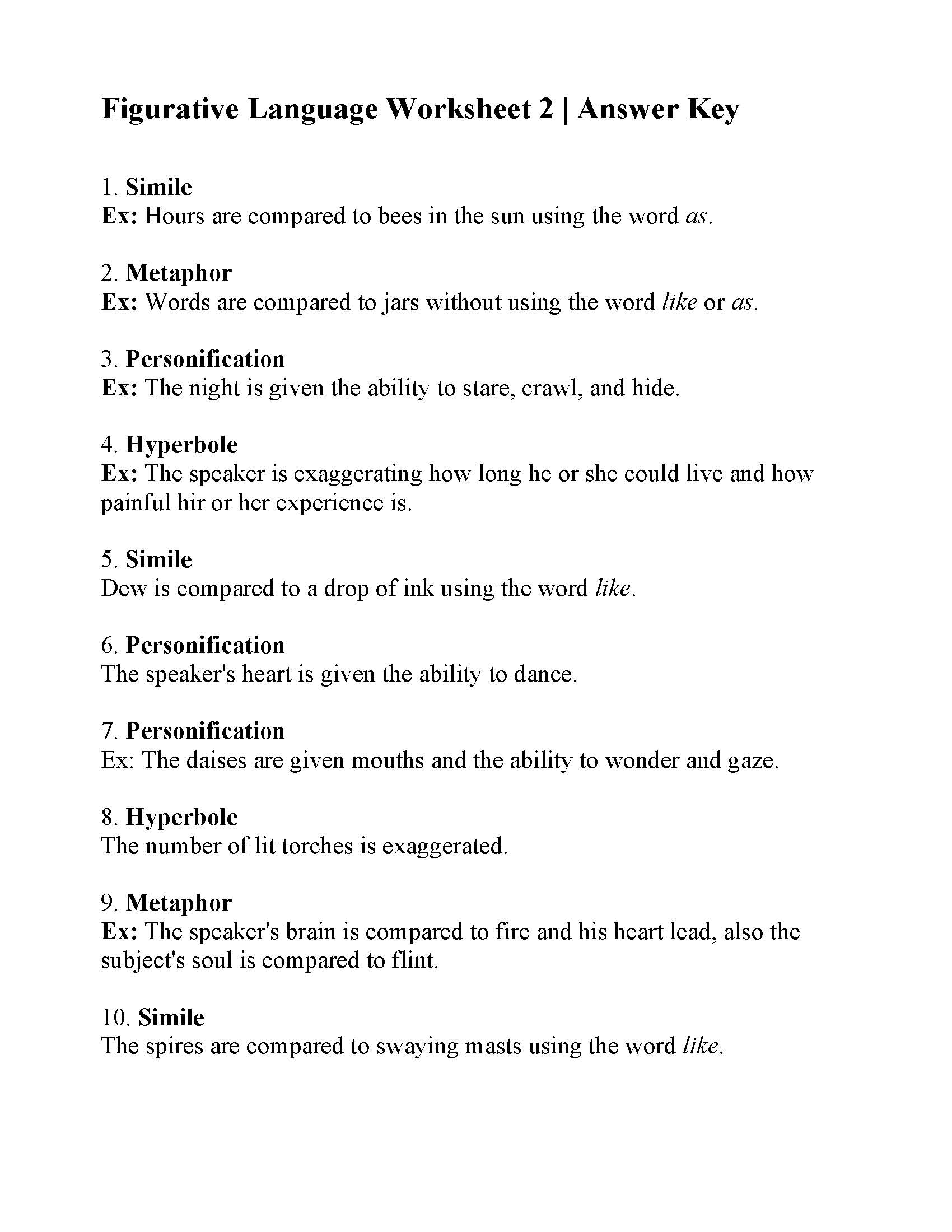 Figurative Language Worksheet 2