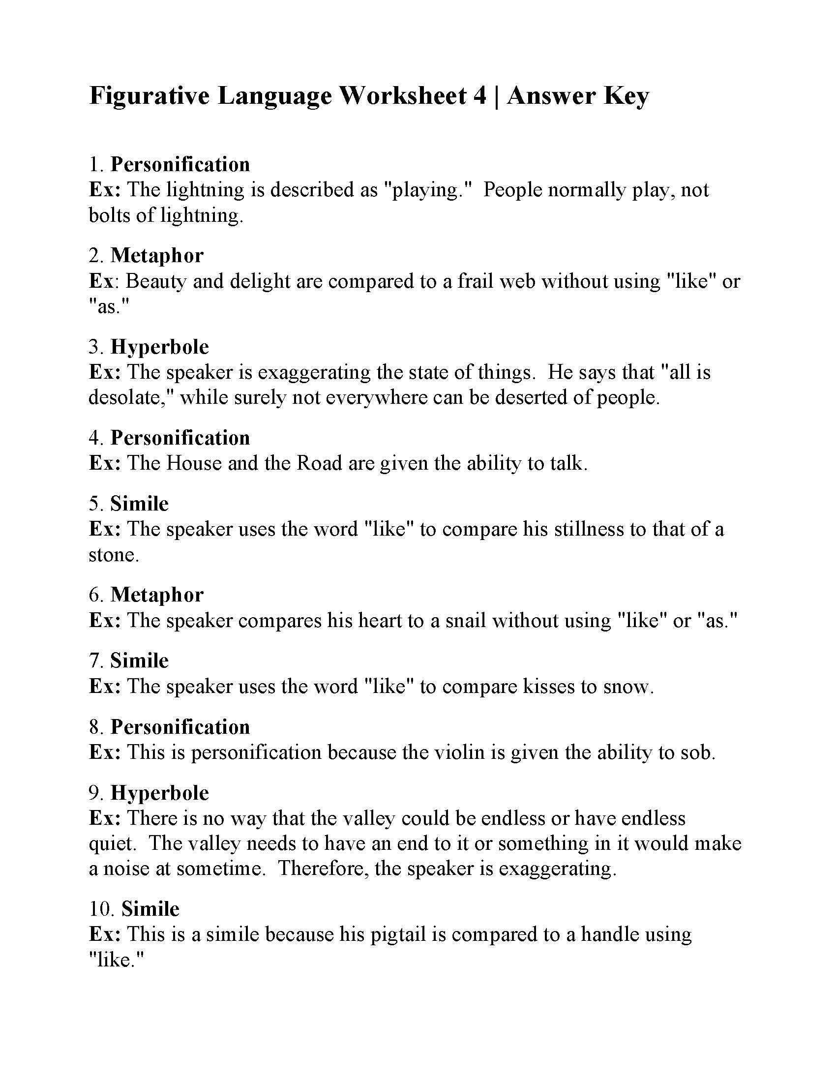 Figurative Language Worksheet 4