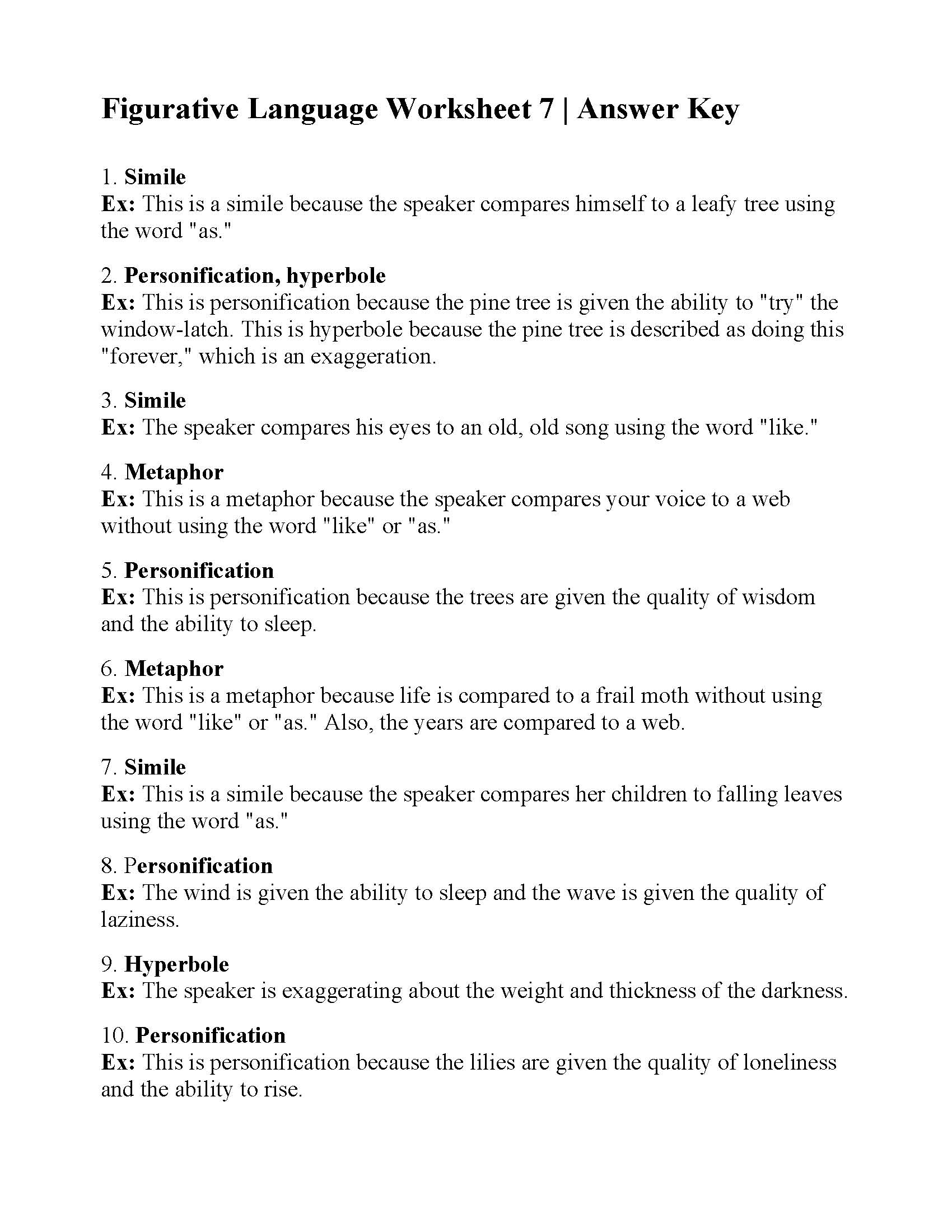 Figurative Language Worksheet 7