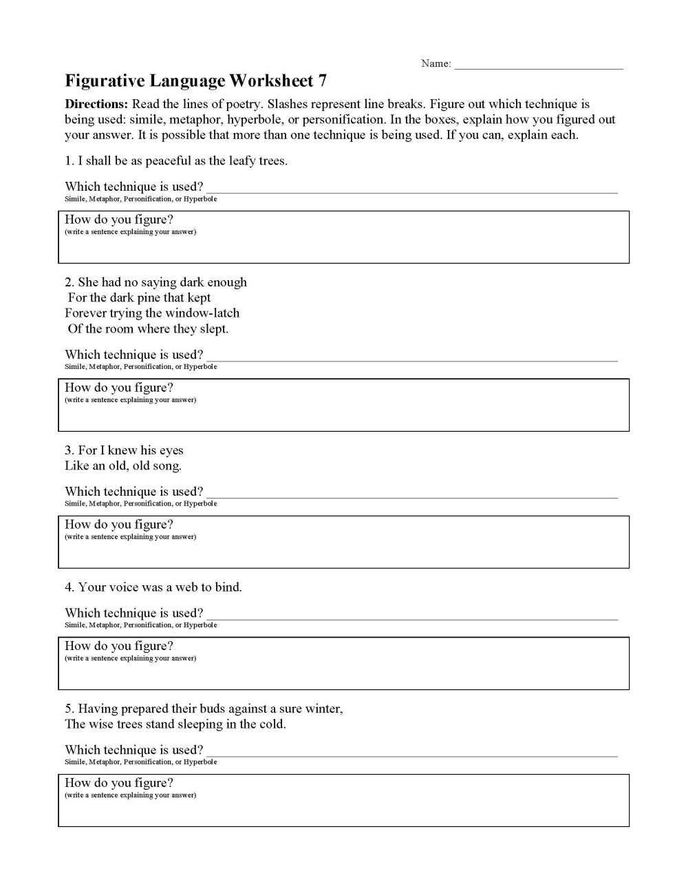 medium resolution of Figurative Language Worksheets   Ereading Worksheets