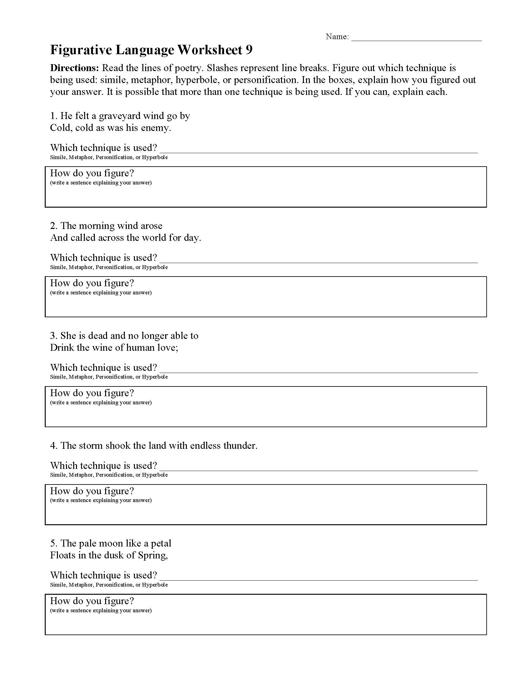 Understanding Poetry Stanza Structure Practice Worksheet