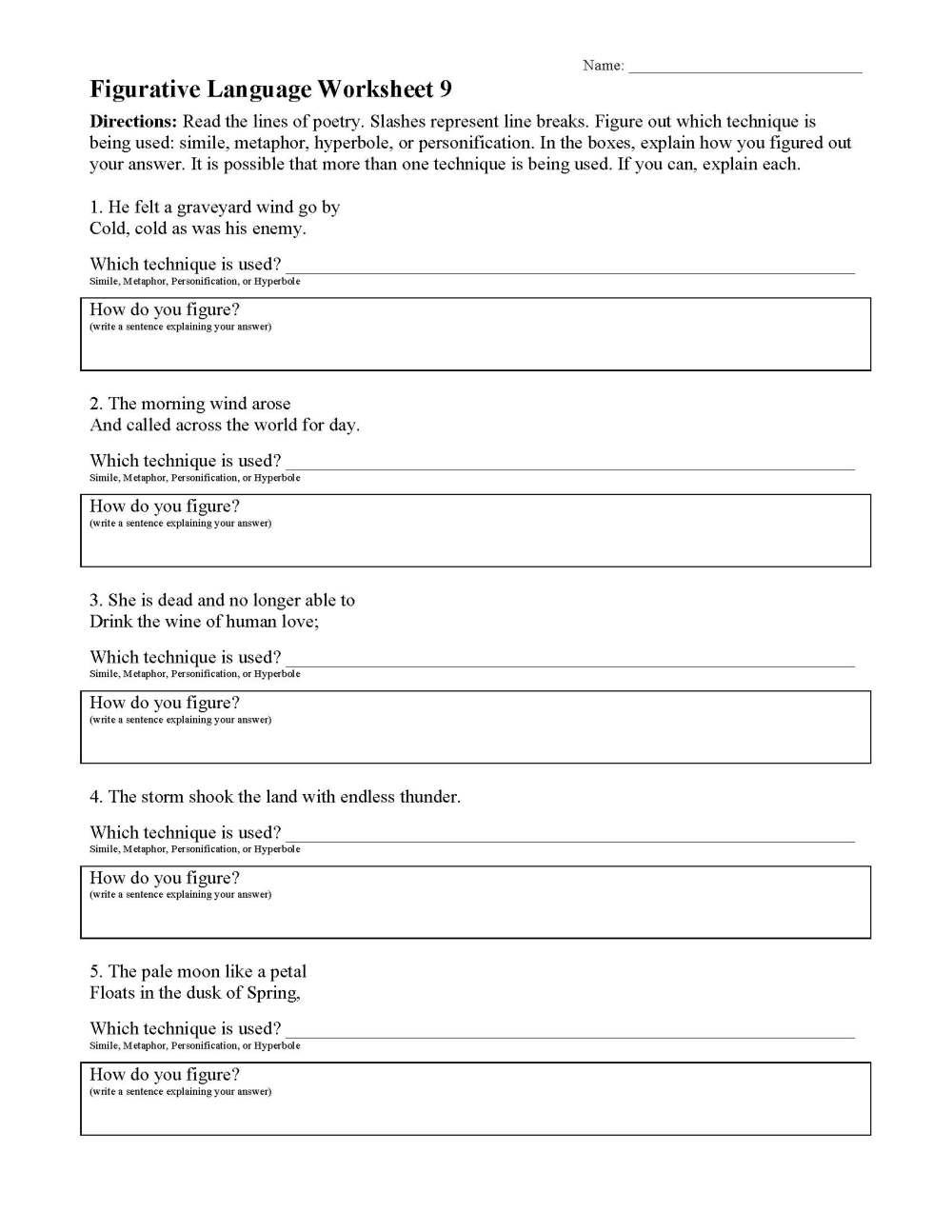 medium resolution of Figurative Language Worksheets   Ereading Worksheets