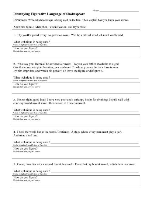 small resolution of Figurative Language Worksheets   Ereading Worksheets