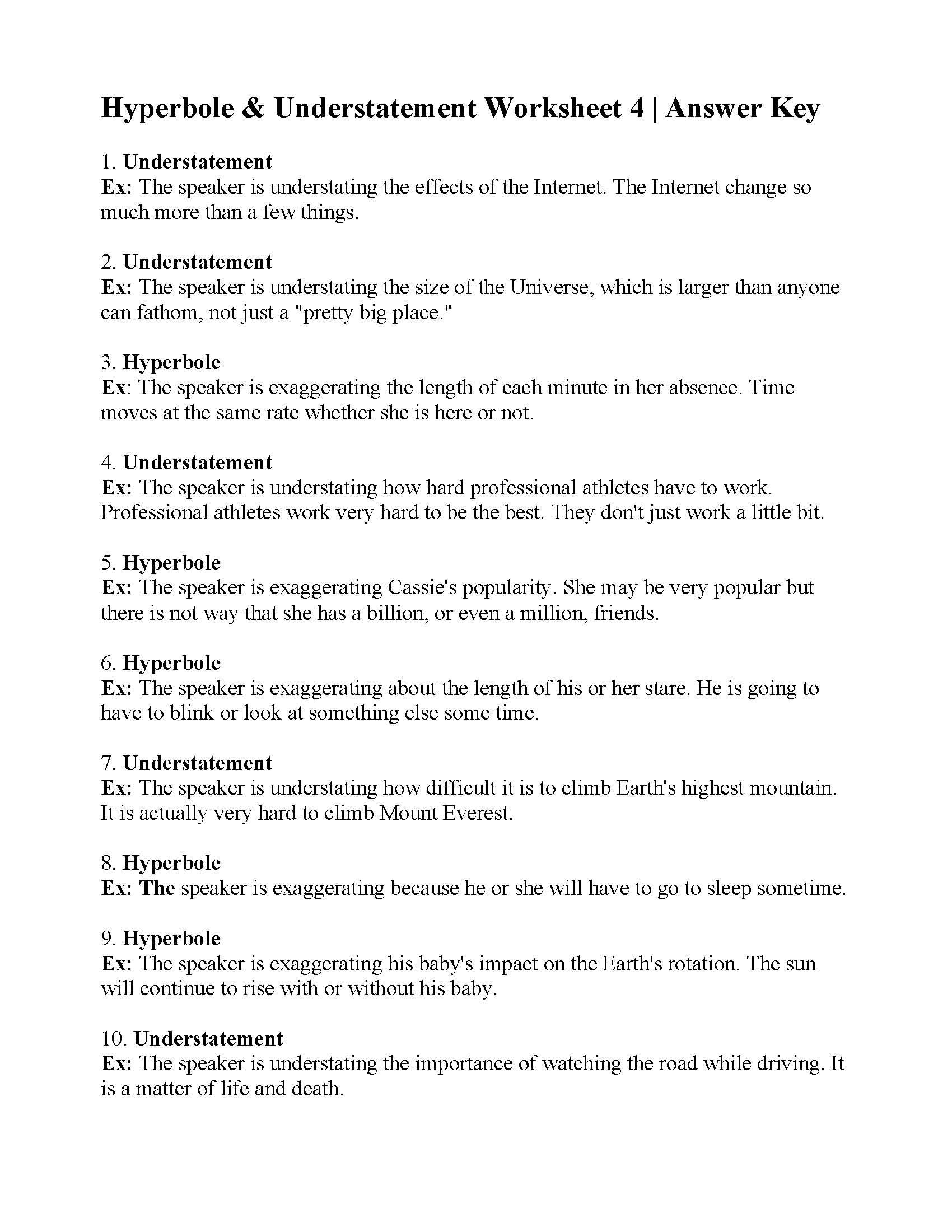 Hyperbole And Understatement Worksheet 4