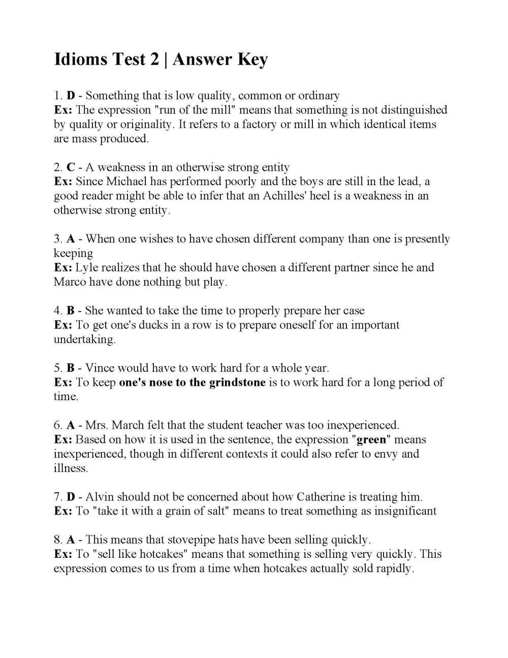 medium resolution of Idioms Test 2   Answers