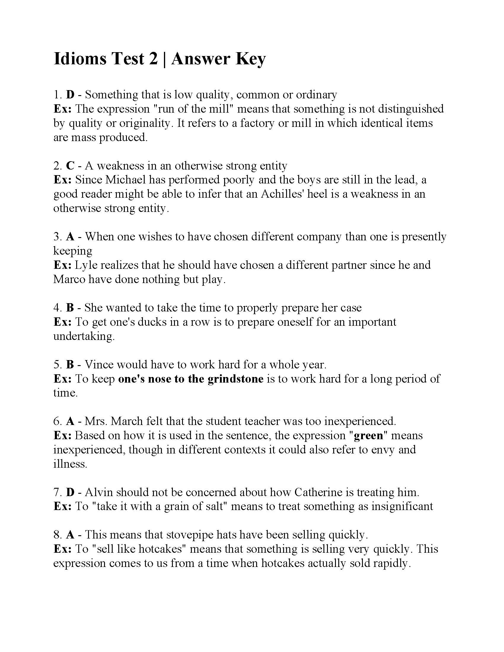 hight resolution of Idioms Test 2   Answers