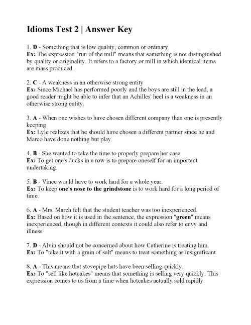 small resolution of Idioms Test 2   Answers