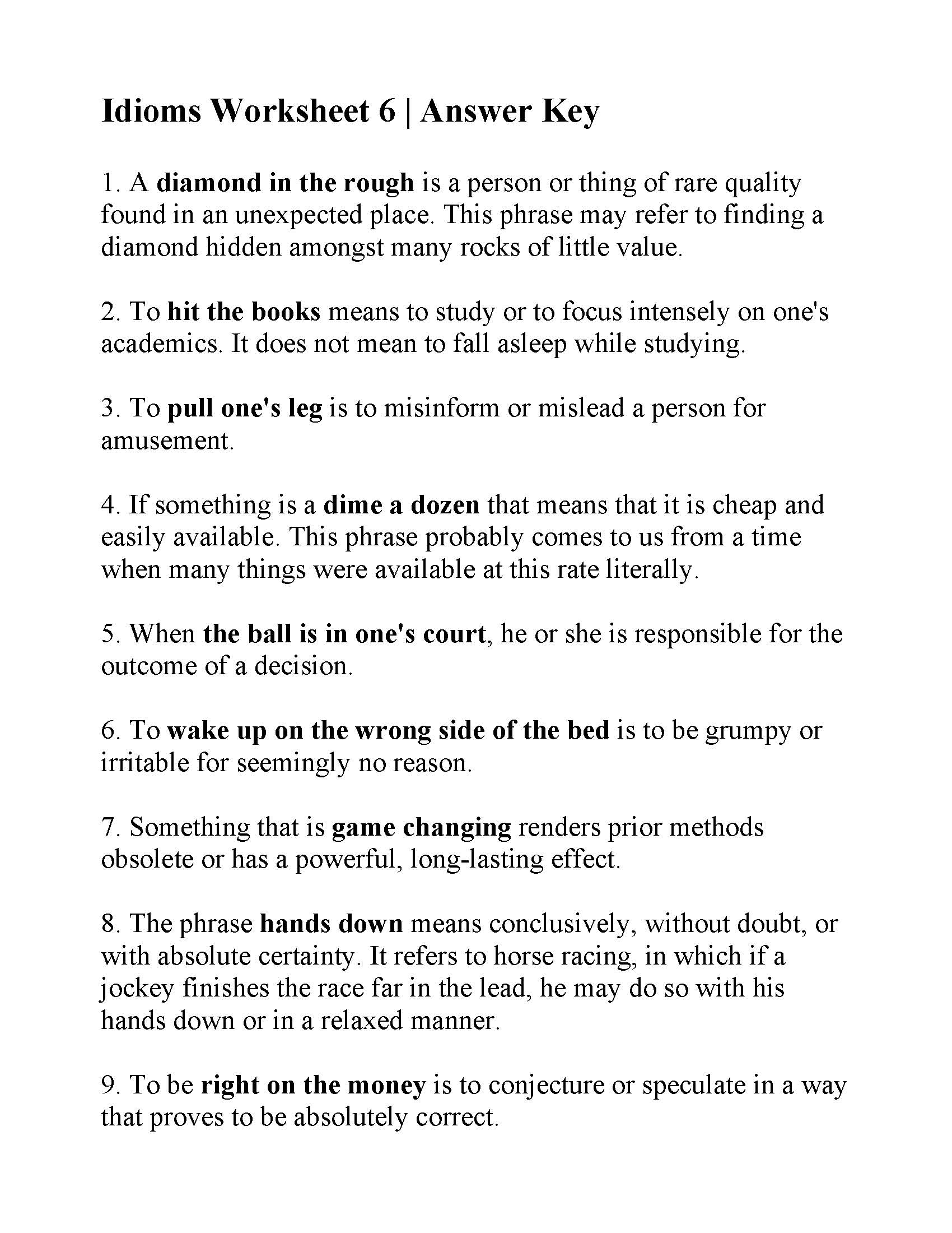 hight resolution of Idioms Worksheet Grade 5 Ela   Printable Worksheets and Activities for  Teachers