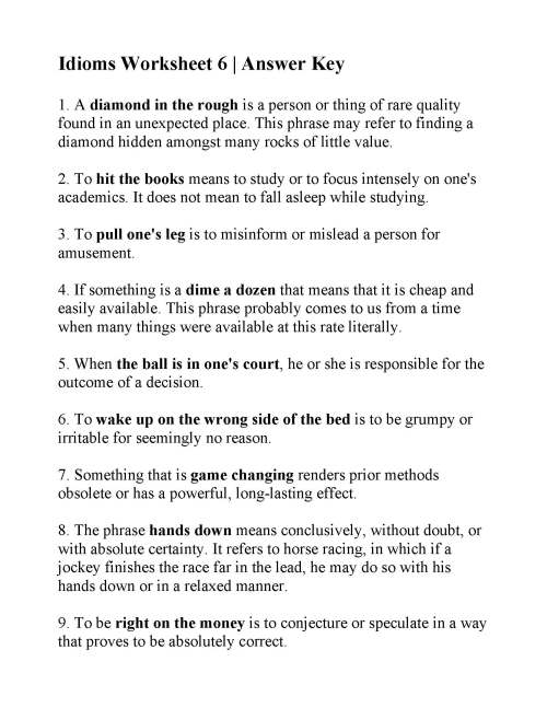 small resolution of Idioms Worksheet Grade 5 Ela   Printable Worksheets and Activities for  Teachers