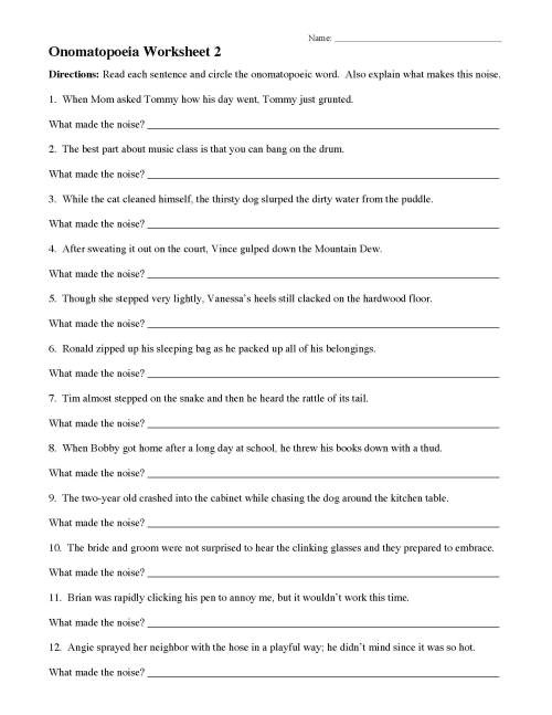 small resolution of Onomatopoeia Words Worksheets   Printable Worksheets and Activities for  Teachers